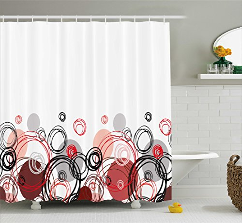 Ambesonne Abstract Shower Curtain by, Horizontal Stripe Design and Geometric Circles Rounded Shapes Art Illustration, Fabric Bathroom Decor Set with Hooks, 75 Inches Long, Black Red ()