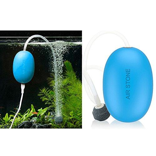 Mini Aquarium Air Pump Outdoor Quietest Air Pump for Fish Tank with Air Stone & Silicone Tube Small USB No-charger Oxygen Pump for Aquarium Silent Aquarium Air Pump, Blue by LuckSmart