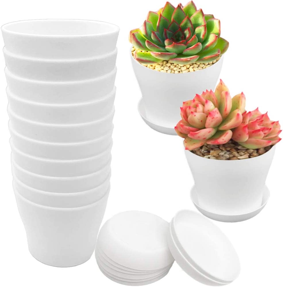 12 Pcs White Plastic Planters Pots,4 Inch Flower Plant Nursery Pot with Drainage Holes and Tray,Plant Container Seed Starting Pots for Indoor Outdoor Garden House Office Decor