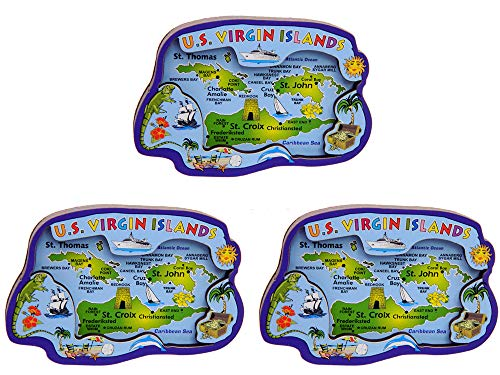 3 PACK - US Virgin Islands 3D Carved Magnet Makes a Great Collectible Souvenir or Gift!