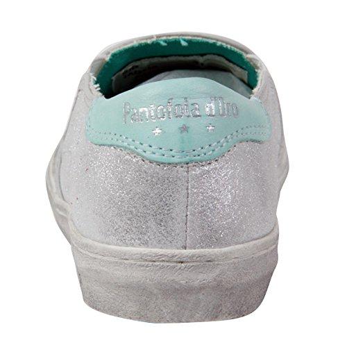PANTOFOLA D ORO Kinder Mädchen Leder Schuhe Slipper Silver 59 Größe 31