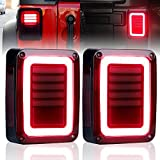 FieryRed Upgraded Smoked LED Tail Lights for 07-17 Jeep Reverse Light Turn Signal Lamp Running Lights for Jeep Wrangler JK, 2 Years Warranty