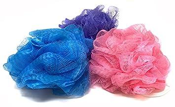 Merveilleux Mesh Loofah Shower Puff, Bath And Shower Body Sponge, Colored Set, 3 Pieces