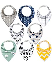 ALVABABY Baby Bandana Drool Bibs 8 Pieces of Drooling Teething Feeding Super Absorbent Cotton and Polyester For Boys and Girls Thin Bibs Newborn Infant Toddler Baby Gifts