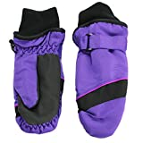 Nolan Girls Thinsulate Waterproof Colorblock Ski Mittens Black Purple Small/Med