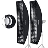 "Godox 35x160cm 14""x63"" Beehive Honeycomb Grid Strip Softbox Bowens Mount for Studio Flash (2pcs)"
