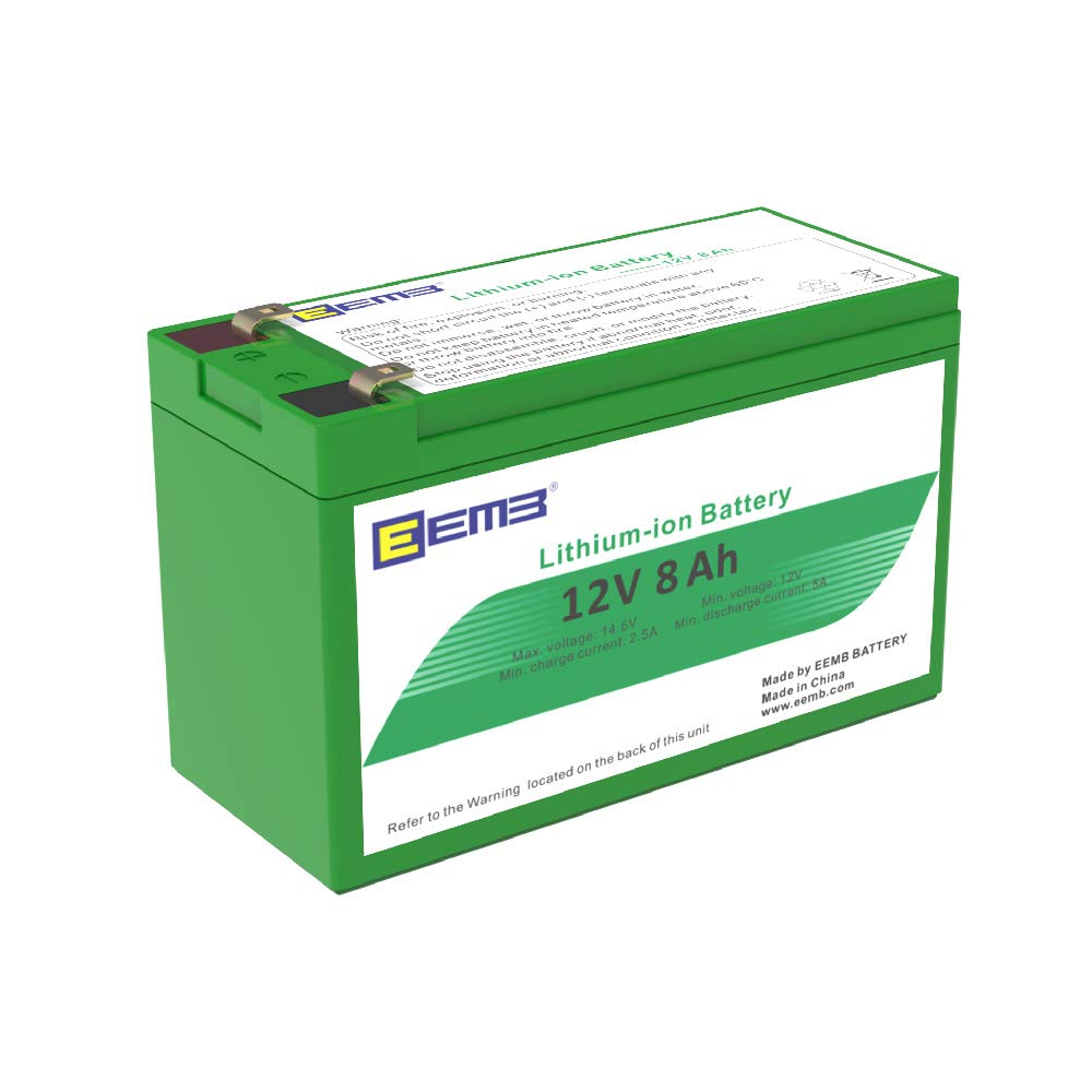 EEMB 12V 8AH Rechargeable Lithium Ion Phosphate (LiFePO4) Battery 102 WH Replace SLA Lead Acid Battery-EEMB Lithium Battery