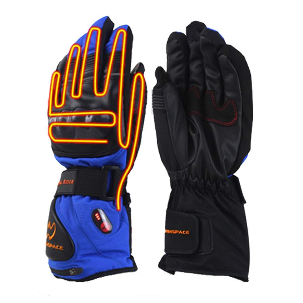 DMGF Winterbeheizte Handschuhe, mit 5600 mAh wiederaufladbaren Li-Ion-Akkuheizhandschuhen, wasserdicht, 3 Hitze 7.4V, blau, warme Hände 4-8 Stunden bei kaltem Wetter für Männer und Frauen