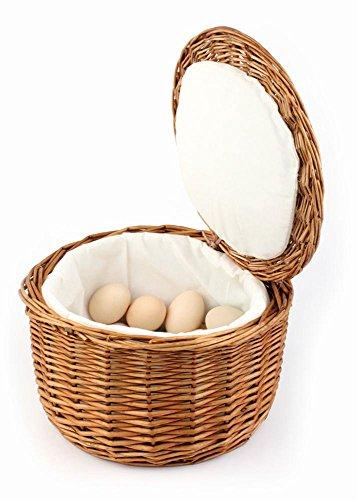 APS Eierkorb, Brotkorb, Brötchenkorb, Ø26 cm, aus stabiler natur Vollweide, Höhe 17 cm, für ca. 20 Eier