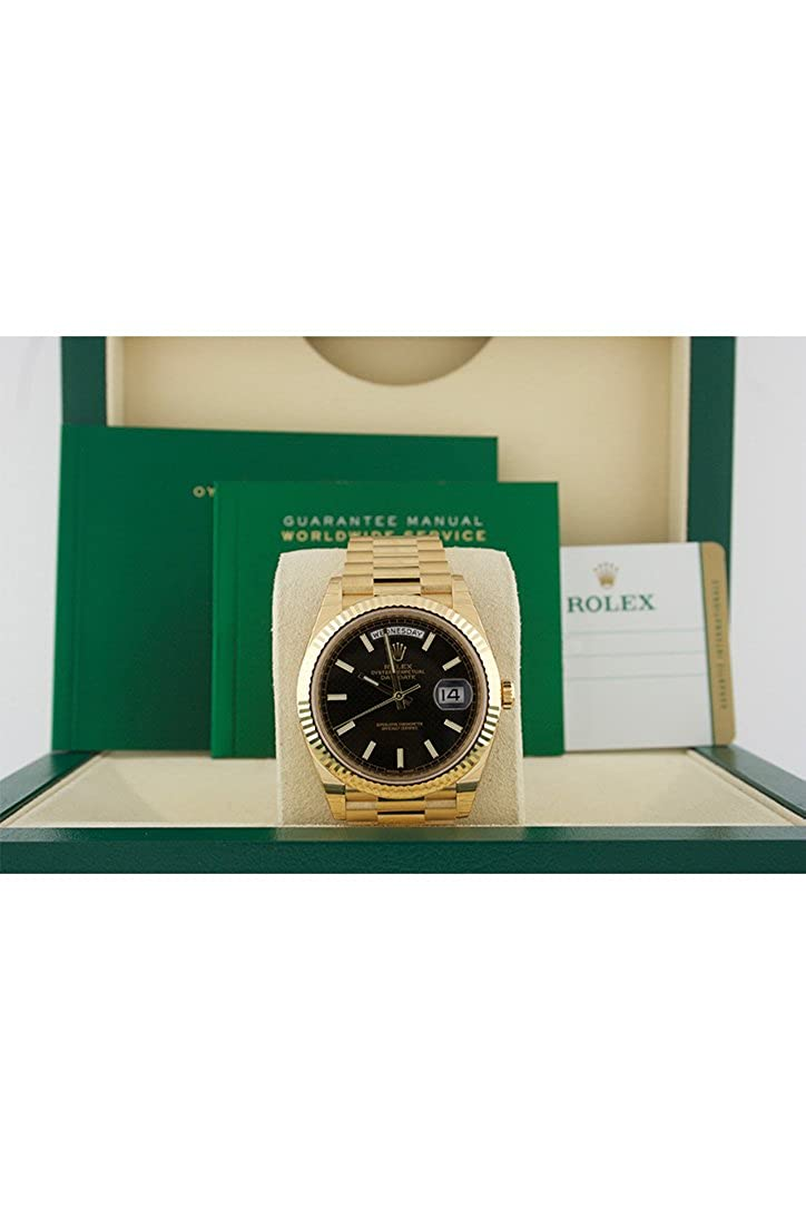 eae3939f928 Amazon.com: Rolex Day-date 40 Black Diagonal Motif Index Dial 418 Yellow  Gold Mens Watch 228238: Watches