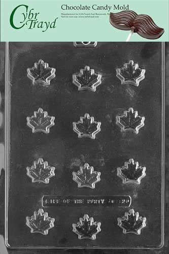 Cybrtrayd AO121 Maple Leaf Chocolate Candy Mold with Exclusive Cybrtrayd Copyrighted Chocolate Molding Instructions