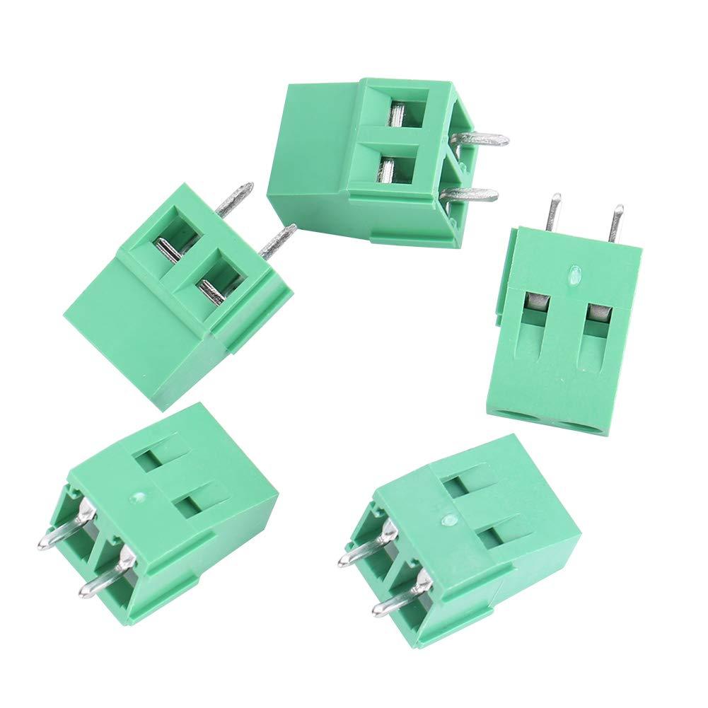 10 A 2 pines 50 piezas 300 V Bloques de terminales 5 mm de separaci/ón de PCB Tornillos universales Bloques de terminales Conectores el/éctricos para cableado y conexi/ón de PCB