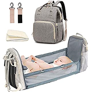 Diaper Backpack With Changing Bed Multifunctional Foldable Baby Bed Waterproof big space for baby (Gray)