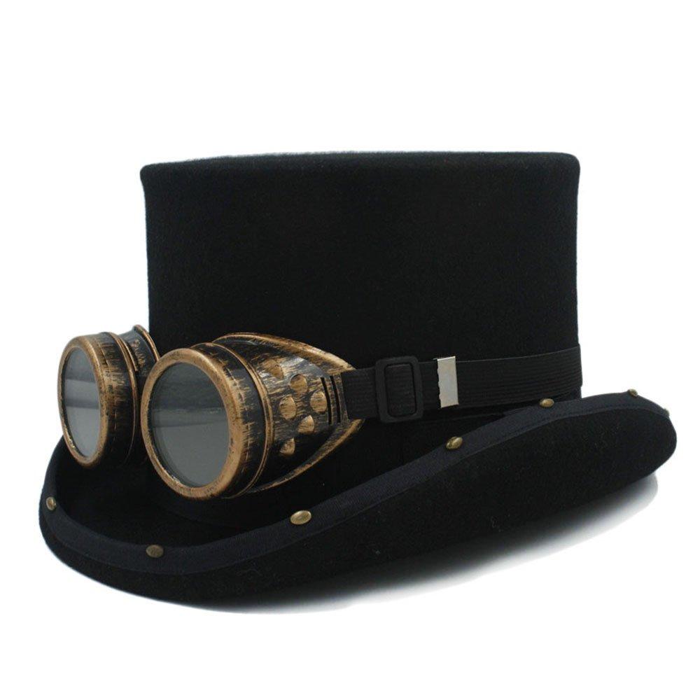 1 HappyL Hat, Women Men Handmade 100% Wool Steampunk Top Hat Punk GlassMad Hatter Magic 13.5CM 4 Size Choose,Leisure Fashion Cap. (color   1, Size   55CM)