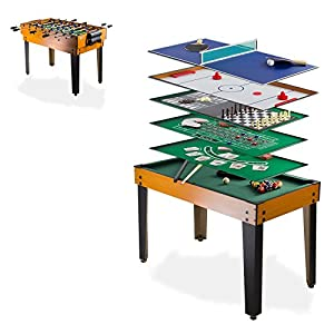 Dema Tischfußball Multigame 13 in 1, schwarz/braun