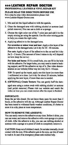 Leather Repair Doctor Complete Diy Kit Premixed All In