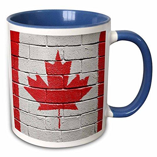 3dRose 155111_6 Canada Canadian flag on brick wall national country Mug, 11 oz, Blue