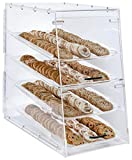 Large Bakery Display Storage Case, 4 Trays, Magnetic Door, 13.9''W x 24.5''H x 24.5''D (Clear Acrylic)