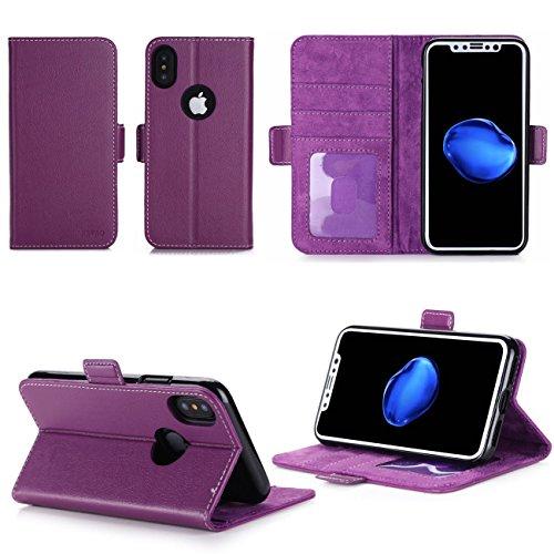 Apple iPhone X 5.8 pouces : Housse Portefeuille luxe violette Cuir Style avec stand - Housse coque de protection iPhoneX (iPhone Ten / 10 ans) avec porte cartes - Accessoires pochette XEPTIO : Excepti