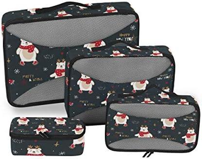 かわいいクリスマスホッキョクグマ荷物パッキングキューブオーガナイザートイレタリーランドリーストレージバッグポーチパックキューブ4さまざまなサイズセットトラベルキッズレディース