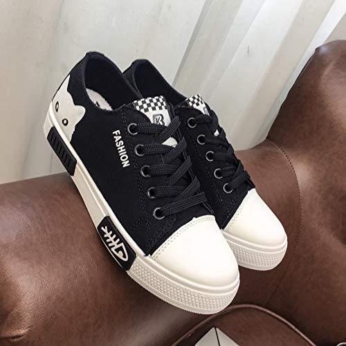 Fondo Lona Frende Estudiante Joker AIMENGA Zapatos De Zapatos De Blancos Plano black Mujer Otoño Estudiante Planos Zapatos Zapatos qBBwzXnv