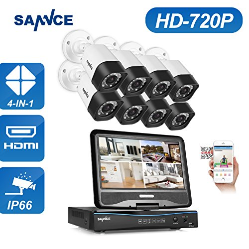SANNCE 8CH 720P DVR Recorder with built-in 10.1 LCD monitor and (8) 1.0MP 1280TVL Weatherproof Cameras, H.264 Real-time Security System, Support Phone Remote Access Viewing (NO HDD)