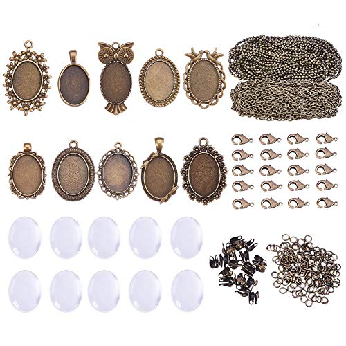 SUNNYCLUE 10 Sets Assorted Cabochon Frame Setting Tray Charms Pendant with Clear Oval Glass Dome Tile 25x18mm for Photo DIY Craft Jewelry Necklace Making, Antique ()