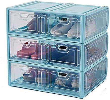 ZR 3 Piezas de plástico Transparente para la Caja del Zapato: Adecuado para Botas largas, Caja de Almacenamiento, Cubierta Frontal Abierta, Caja de Acabado a Prueba de Polvo (Color : Azul): Amazon.es: