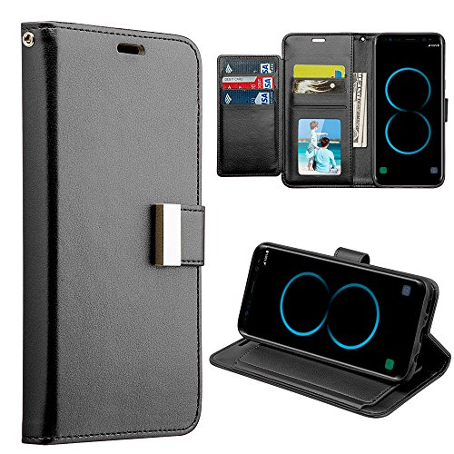 Samsung Galaxy S8+ Plus (2017) Case – Lightweight Synthetic PU Leather [Multiple Card Slots | Bill Fold Holder] Hybrid Stand Executive Wallet with Magnetic Flip Cover and Atom LED