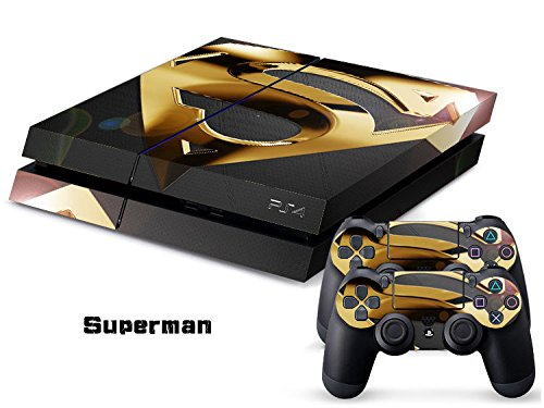 258stickers® Playstation 4 Console Skin & Remote Controllers Skin - Kal Superhero Small Villa - Superman Gold Prime Million the Man Who Lead the World Justice (Ps3 Superman Controller Skin)