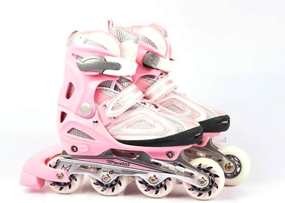 子ども キッズ ワンタッチサイズ調整式 インラインスケート 初心者 户外 光るタイヤ ロ 向け Inline skate 向け メッシュ 通気性抜群 ジュニアプロ ローラースケート (Color : ピンク, Size : M-EU(32-35)) ピンク M-EU(32-35)