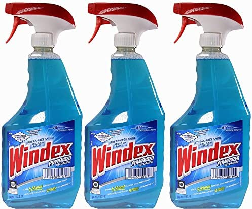 Windex Powerized Glass Cleaner with Ammonia-d, 32 Oz. Trigger Spray Bottle (Pack of three)