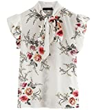 Romwe Women's Floral Print Cap Sleeve Ruffle Bow Tie Blouse Top Shirts White M