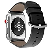 Youkex for Apple Watch Band 42mm, Genuine Leather Strap Replacement Wristband with Silver Stainless Steel Clasp for Apple Watch Series 3, Series 2, Series 1 Sport and Edition Women Men (Black, 42mm)