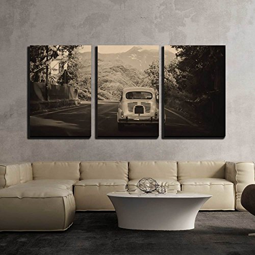 wall26 - 3 Piece Canvas Wall Art - Sepia Photo of a Retro Car Going to Mountains - Modern Home Decor Stretched and Framed Ready to Hang - 16