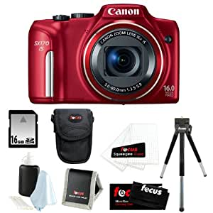 Canon PowerShot SX170 IS 16MP Digital Camera with 16x Optical Zoom and 3-inch LCD in Red + 16GB SDHC + Compact Camera Case + Mini Tripod + Accessory Kit