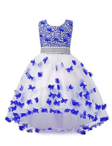 aibeiboutique Flower Girl Dress Princess Butterfly Ball Gown Dresses for Wedding Birthday Party (Royal Blue, 3-4 Years) -