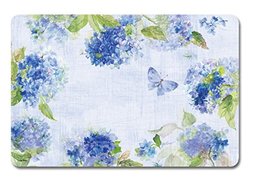 Keller Charles Placemats Vinyl Washable for Table Set of 8 Hydrangea Shabby Chic Look Garden Decor Kitchen Decor Patio