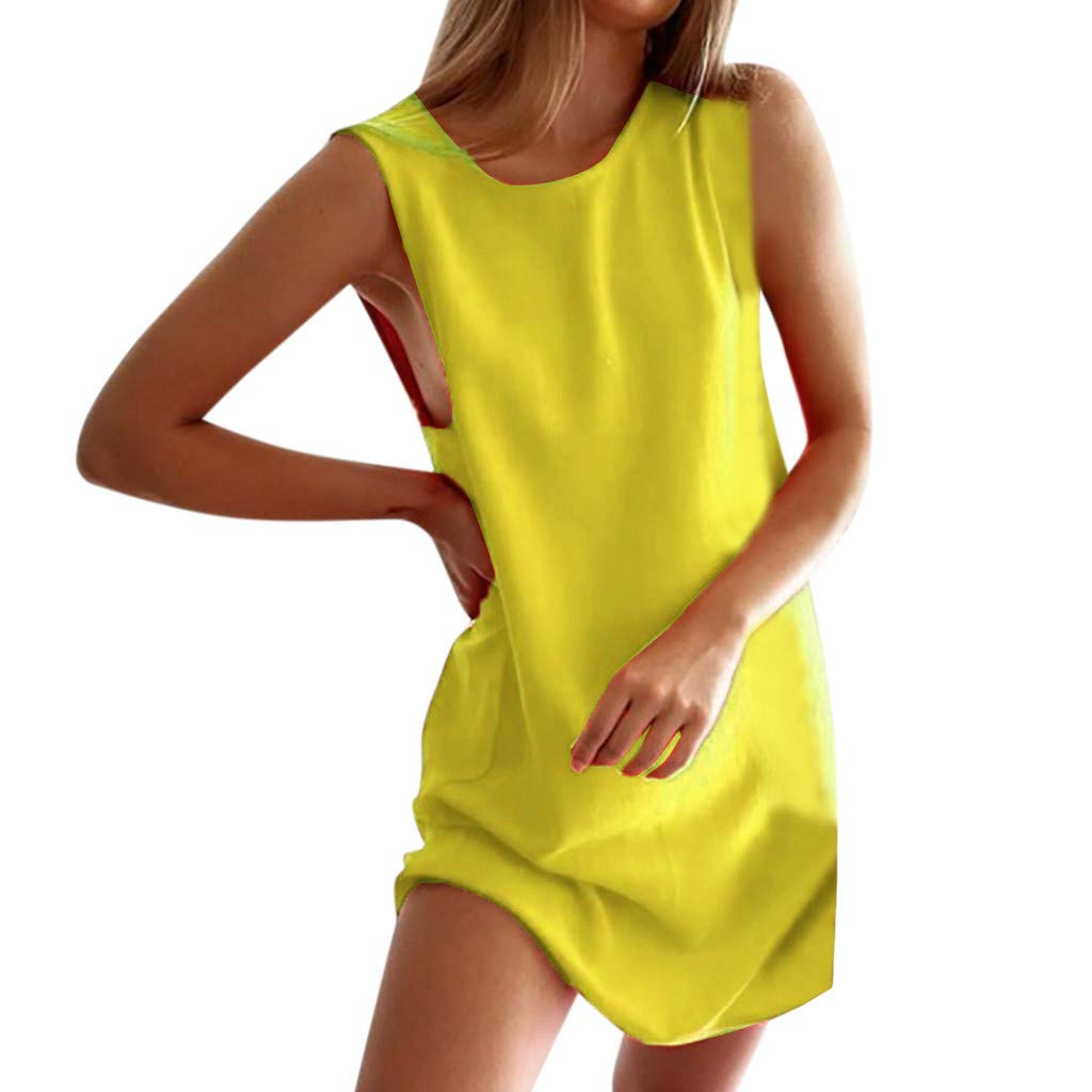 FDSD Man Swimsuit Women's Casual Midi Dress Women O-Neck Loose Solid Color Sleeveless Mini Party Beach Dress (S, Yellow)