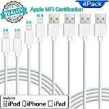 Lightning Cable Apple MFi Certified. Set of 4 charging cables in Pack (2pc - 3ft) (1pc - 6ft) (1pc - 9ft) for iPhone/iPad/iPod. Quality durable iPhone Lightning cables
