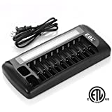 #10: EBL 12 Bay LCD AA AAA 9V Battery Charger for Rechargeable Batteries, New Released - ETL Certified