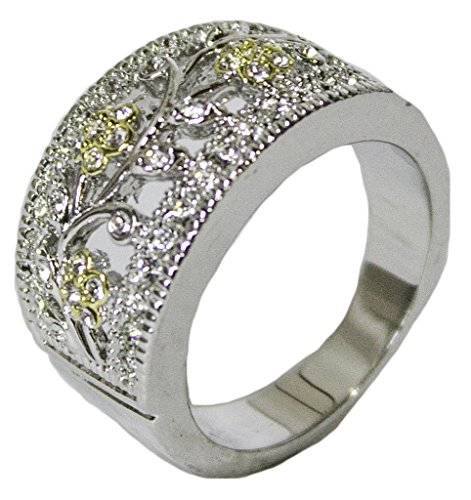 - Women's Rhodium Plated Dress Ring Two Tone Austrian Crystal 056 (7)