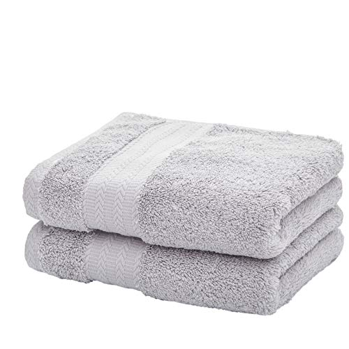 Leisofter Soft & Absorbent Cotton Hand Towels for Bathroom(Grey, 2-Pack, 14″ x 29″) – Multipurpose Towels for Bath, Gym and Spa with Hanging Loop
