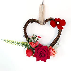 Pre-Lit Wreath for Front Door Christmas Wreaths for Front Door Home decoration garland rattan heart-shaped garland simulation flower wall art ornament wedding door hanging chair back decoration,Red,15
