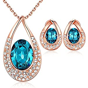 Leafael [Presented by Miss New York] Angel's Teardrop Made with Swarovski Crystals Blue Zircon Jewelry Set Earrings Necklace, 18″ +2″, Nickel/Lead/Allergy Free, Luxury Gift Box