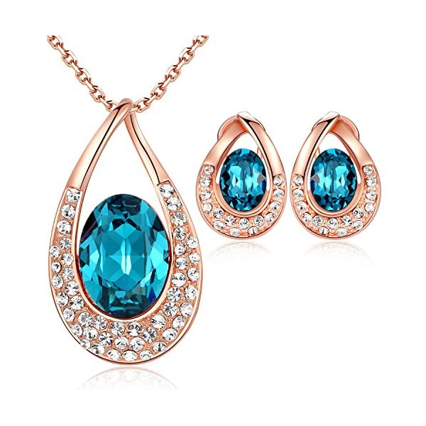 """[Presented by Miss New York] Leafael """"Angel's Teardrop"""" Made with Swarovski Crystals Blue Zircon Jewelry Set Earrings Necklace, 18"""" +2"""", Nickel/Lead/Allergy Free, Luxury Gift Box"""