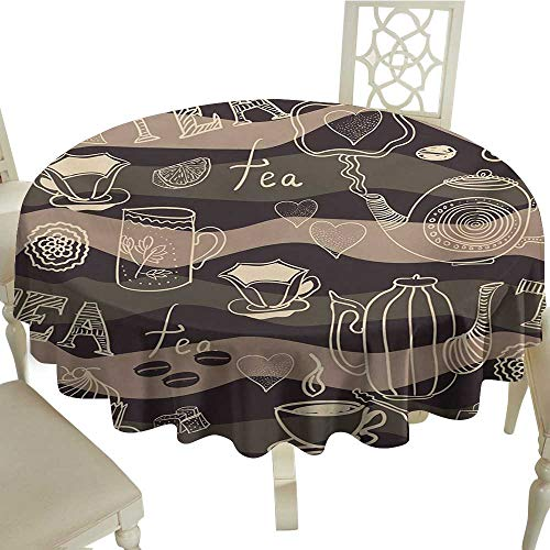 - Polyester Round Tablecloth 70 Inch Tea Party,Stylized Tea Lettering Hot Pots Coffee Beans Doodle Hearts on Wavy Lines,Cocoa Brown Cream Suitable for Home Coffee Bar,Party,Wedding,& More