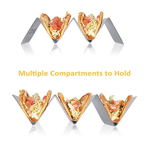 KitchenTour Taco Holder Stand 2 Pack - Stylish 'Tacos!' Hollow Out Design Stainless Steel Taco Rack Holds Perfect for HARD or SOFT Tacos Shell - Keep Tacos Upright without Any Mess by KitchenTour (Image #3)