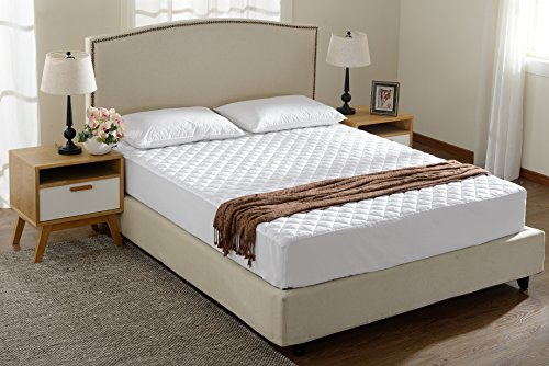 Full Size Quilted Mattress Pad and Protector Fitted Up to 18