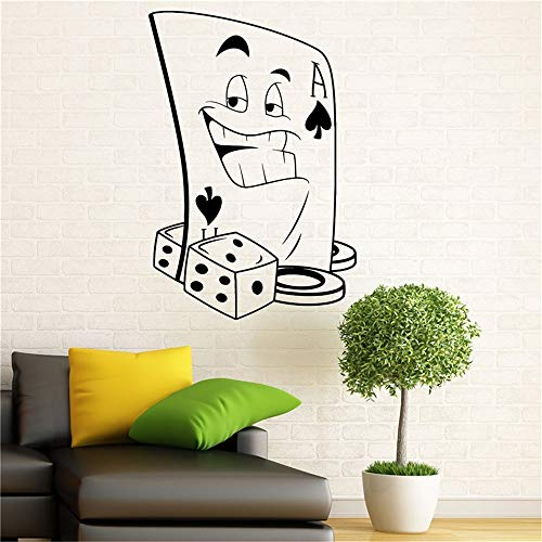 (Liedes Lettering Words Wall Mural DIY Removable Sticker Decoration Poker Gambling Casino Sticker Playing Cards Suit)